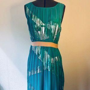 BCBG MaxAzria Pleated Green Cocktail Dress